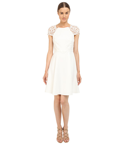 Marchesa Notte Short Sleeve Cocktail Dress w/ Embroidered