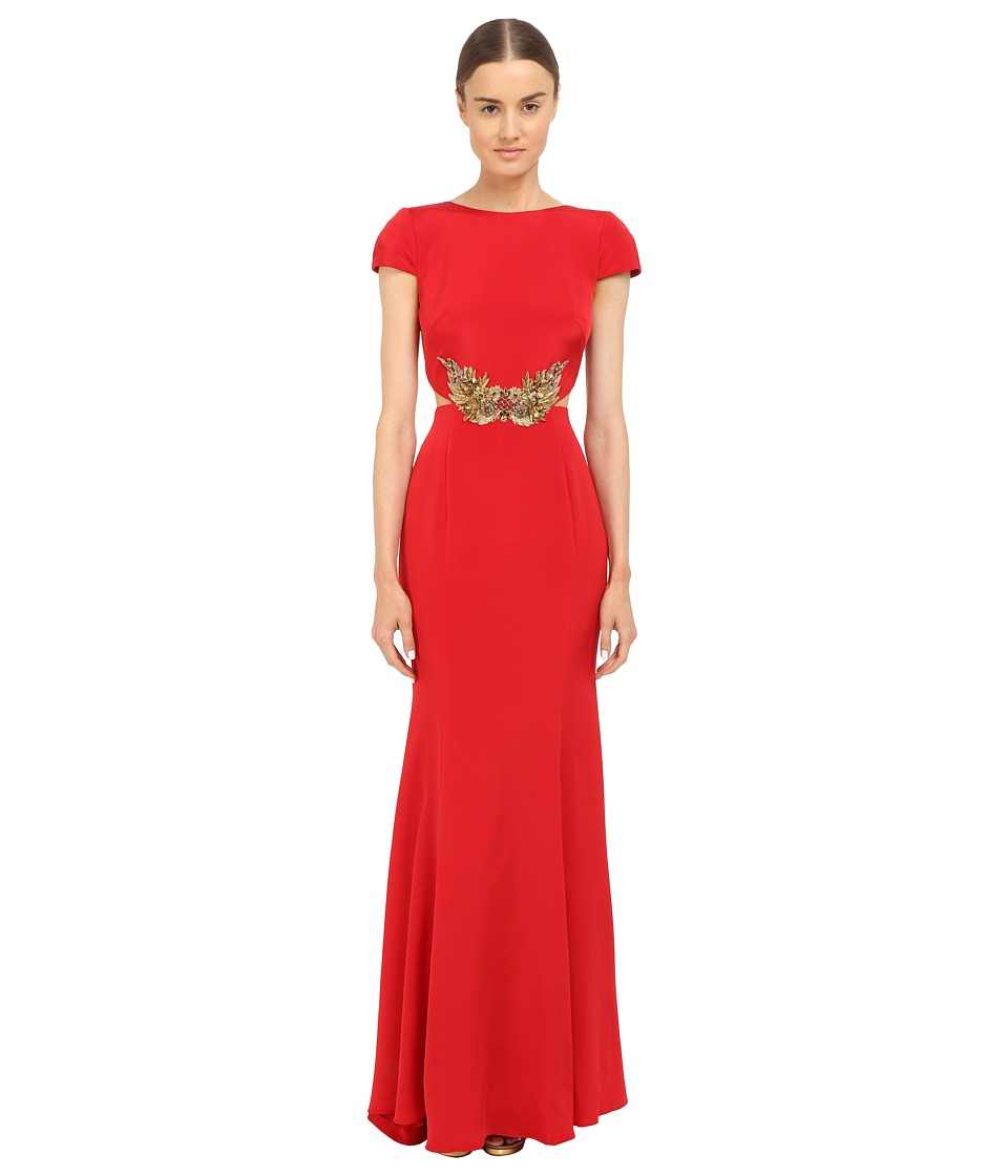 Marchesa Notte Crepe Gown w/ Side Cut Outs Red Womens Dress