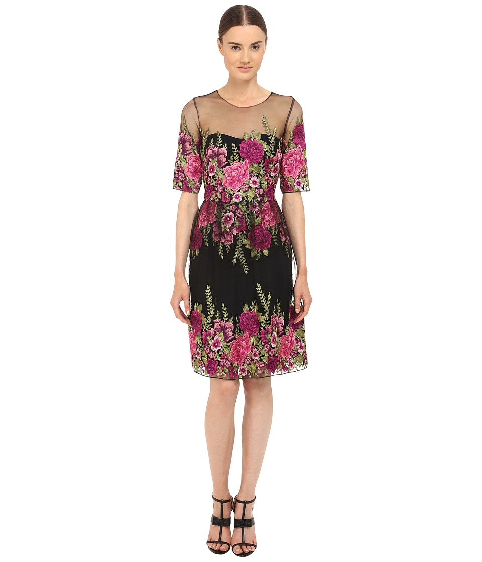 Marchesa Notte Fully Embroidered Tulle Cocktail Dress Black Womens Dress