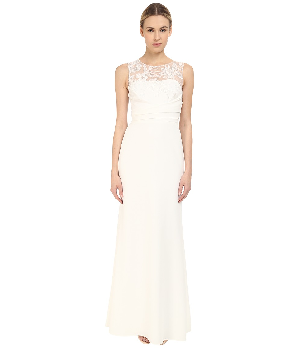 Marchesa Notte Sleeveless Embroidered Crepe Gown Ivory Womens Dress