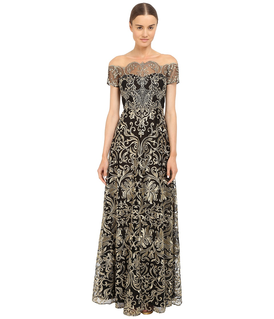 Marchesa Notte Fully Embroidered Gown Black Womens Dress