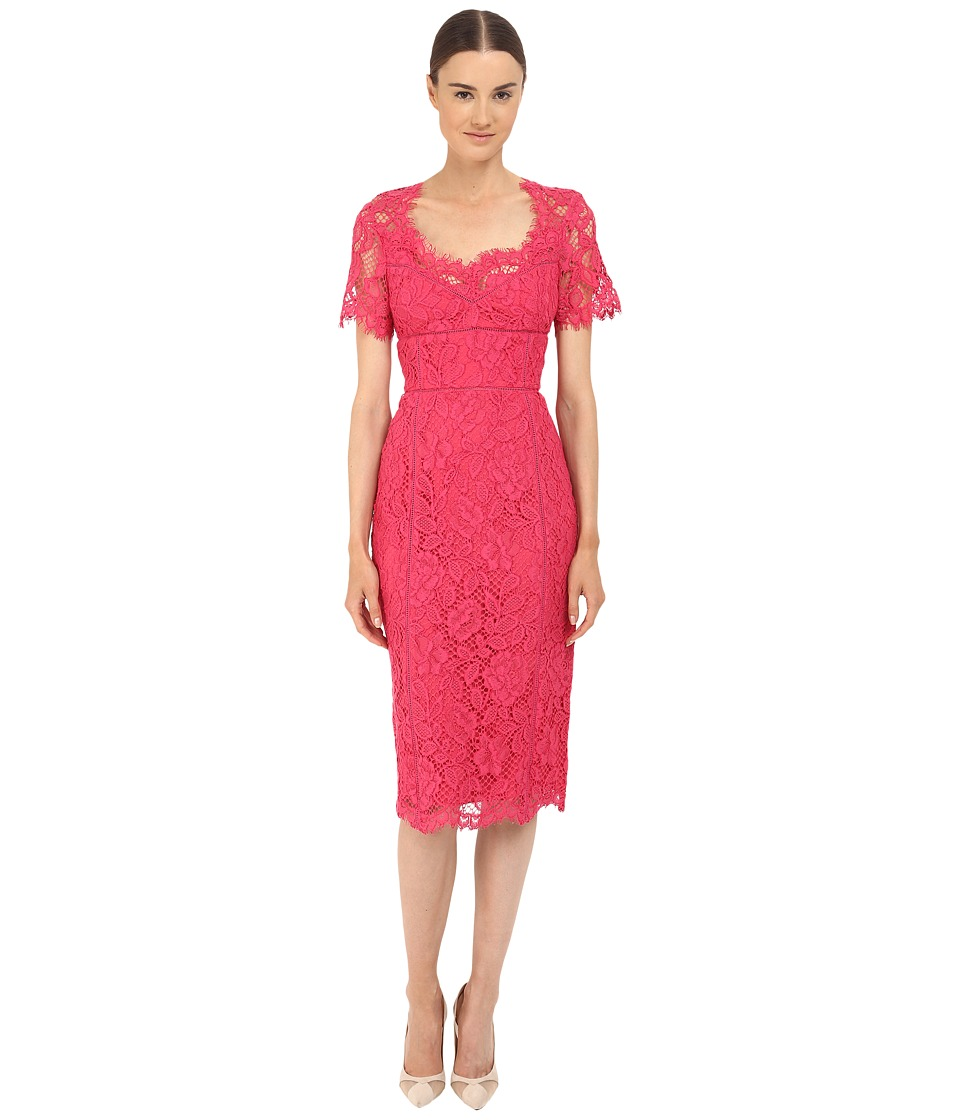 Marchesa Notte Lace Sheath Cocktail Dress w/ Laddering Detail Fuchsia Womens Dress