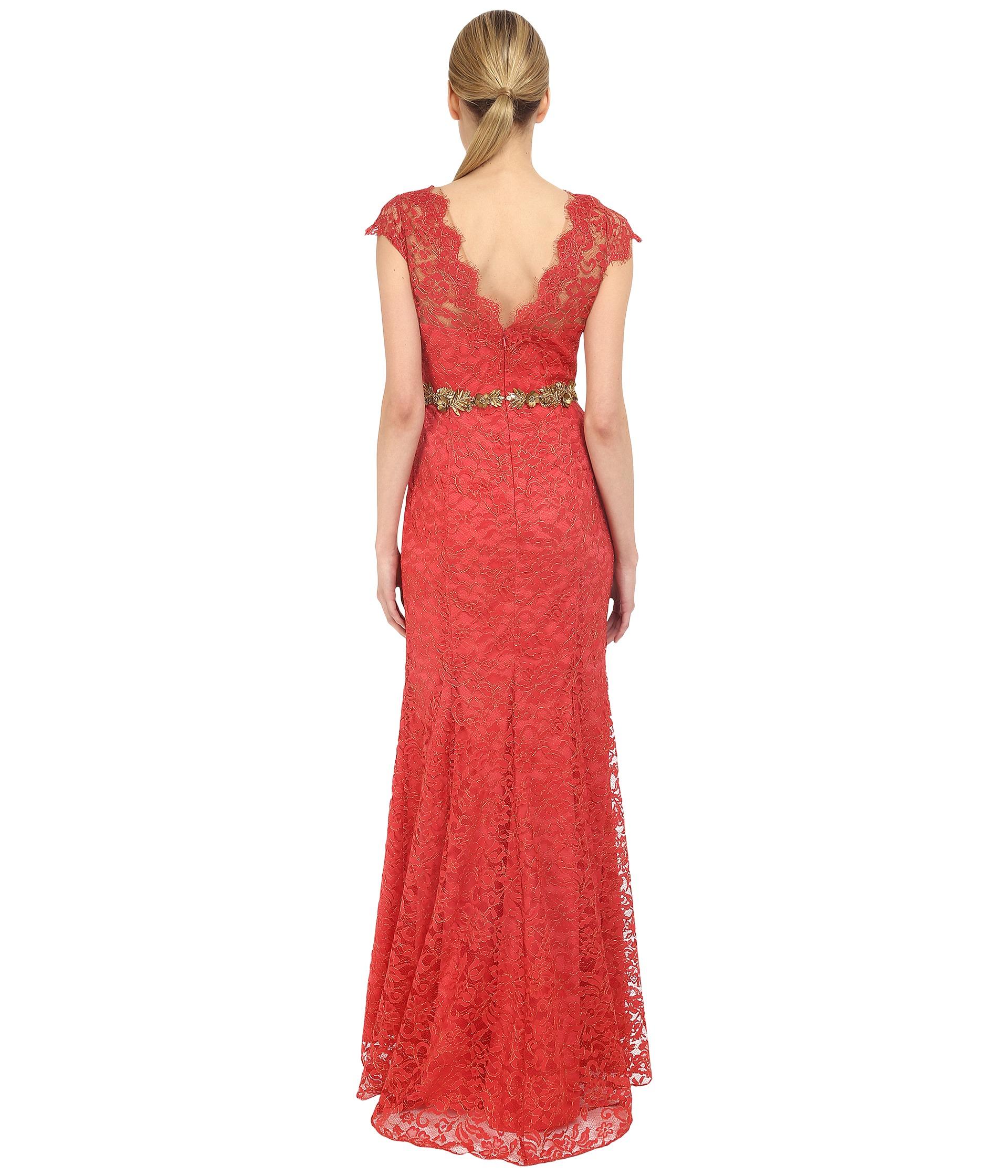 Marchesa Notte Metallic Lace Gown w Beaded Belt Sienna