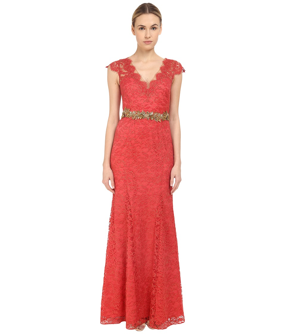 Marchesa Notte Metallic Lace Gown w/ Beaded Belt Sienna Womens Dress
