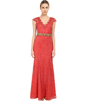 Marchesa Notte - Metallic Lace Gown w/ Beaded Belt
