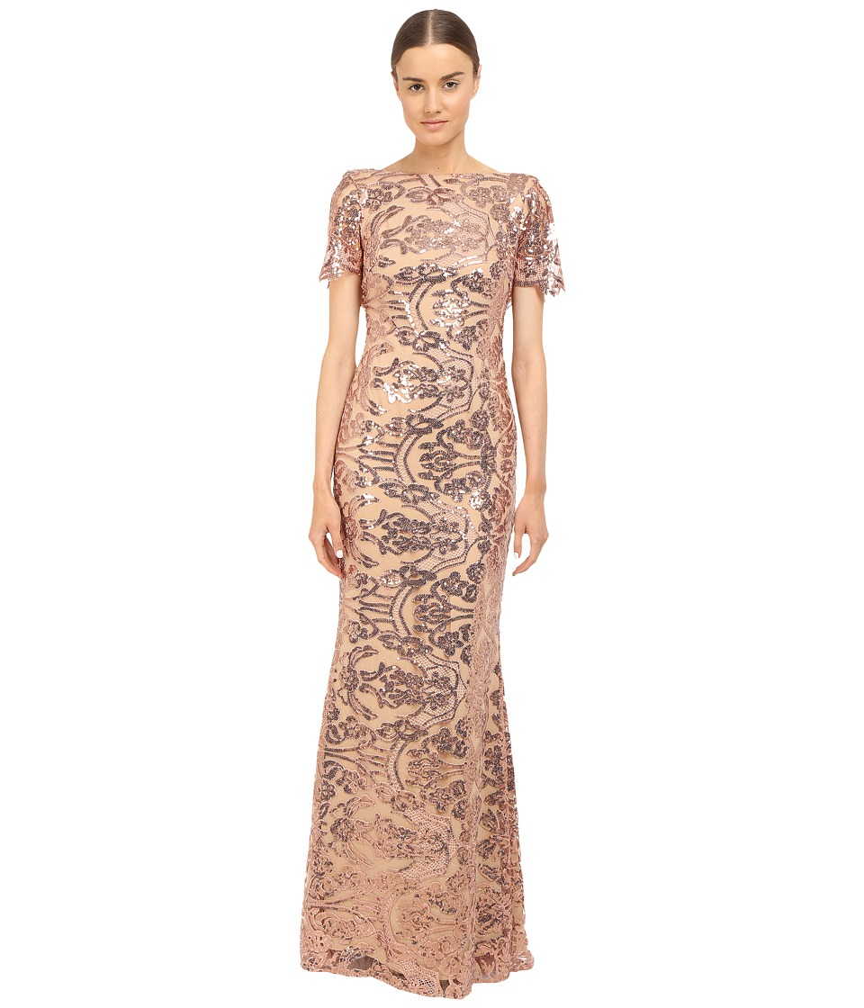Marchesa Notte Sequin Short Sleeve Gown w/ Cowl Back Blush Womens Dress