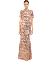 Marchesa Notte - Sequin Short Sleeve Gown w/ Cowl Back