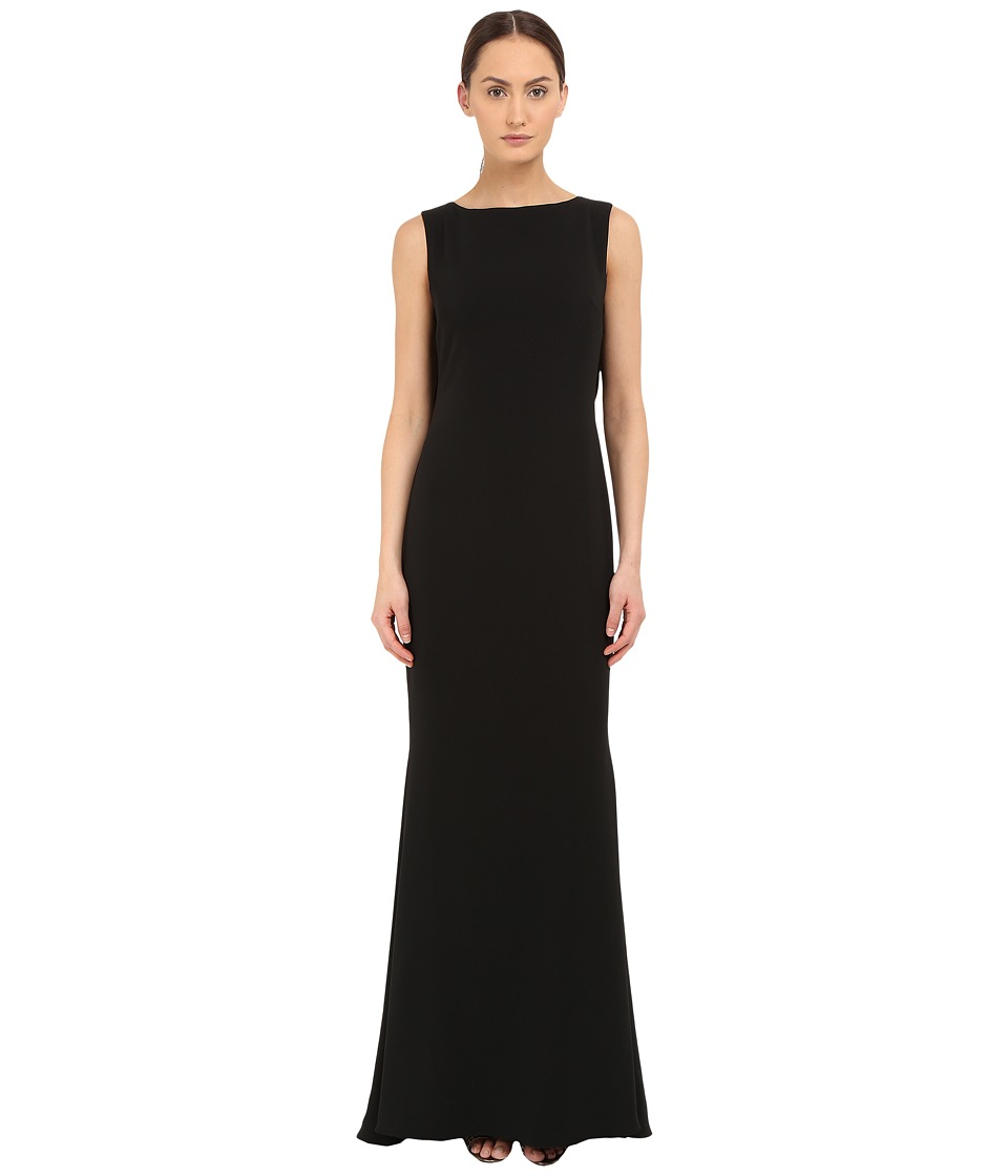 Marchesa Notte Crepe Gown w/ Cowl Back Black Womens Dress