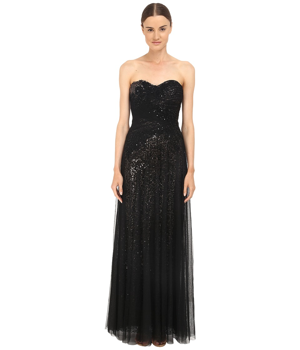 Marchesa Notte Sequin Gown w/ Draped Tulle Overlay Black Womens Dress
