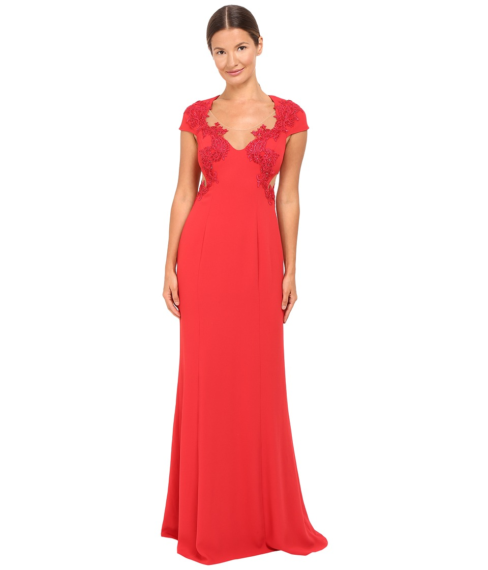 Marchesa Notte - Column Gown w/ Beaded Appliques (Red) Womens Dress
