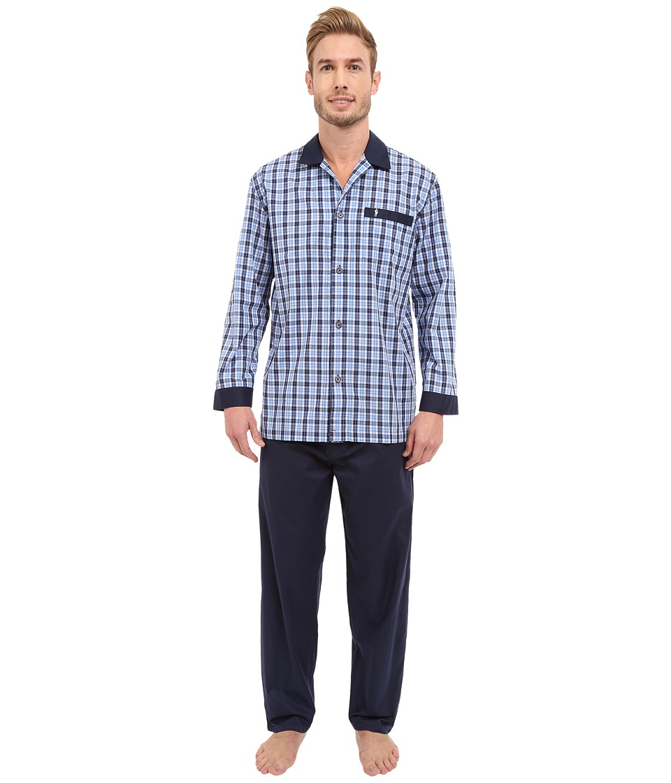Jockey Broadcloth Pajama Set Navy Plaid Mens Pajama Sets