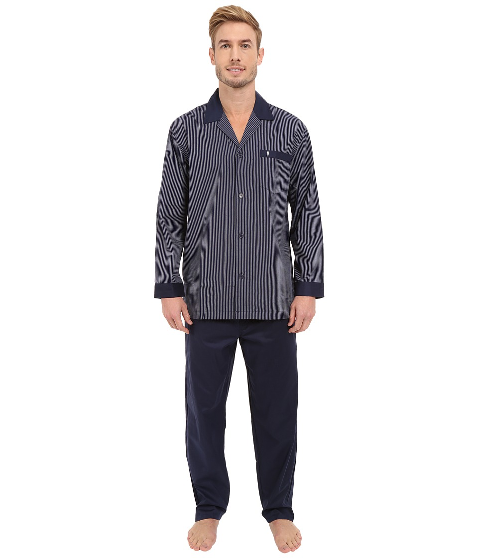 Jockey Broadcloth Pajama Set Navy Stripe Mens Pajama Sets