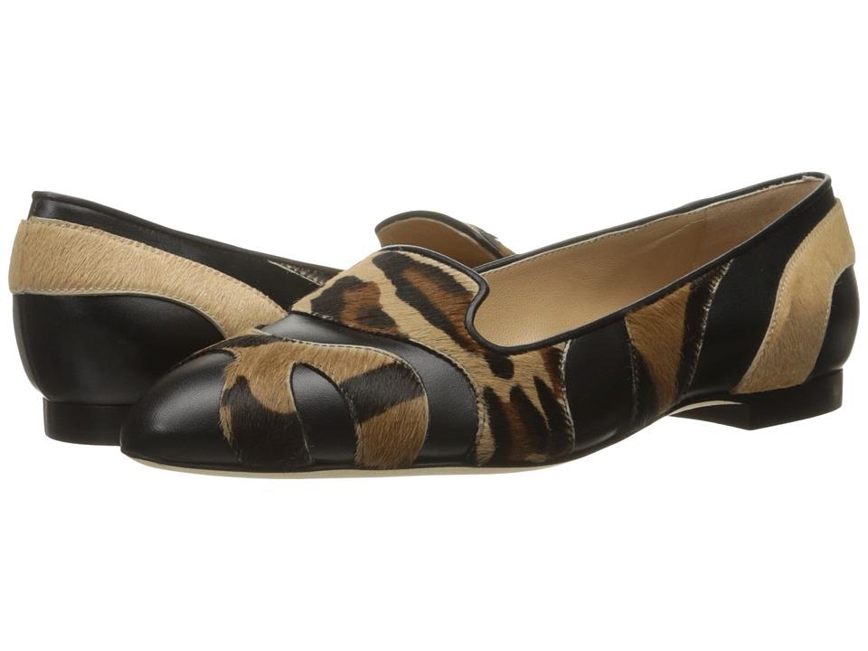 Image of Alberta Ferretti - Calf Leather Mixed Animal Flat, A1566 (Fantasy Black) Women's Flat Shoes