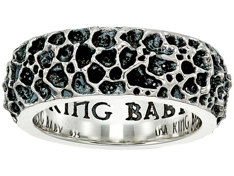 King Baby Studio Lava Rock Textured Band Ring - Silver