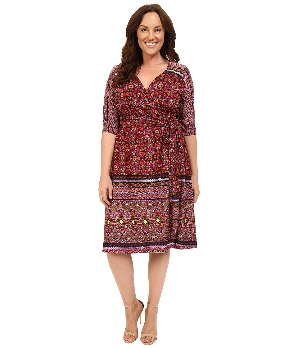Kiyonna Beguiling Border Print Dress Batik Blossom Womens Dress