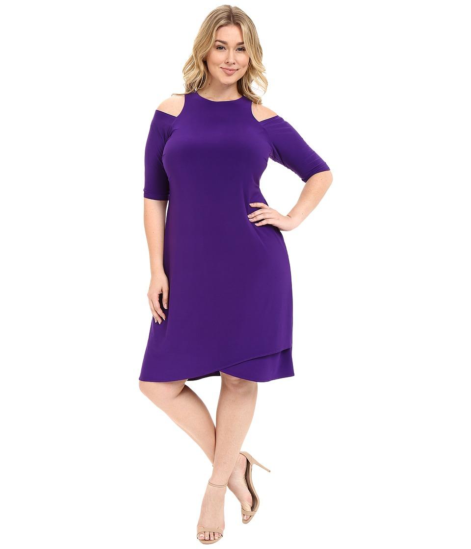 Kiyonna Racy Faux Wrap Dress (Violet) Women