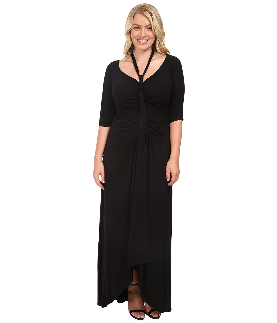 Kiyonna Divine Draped Maxi Dress (Black Noir) Women