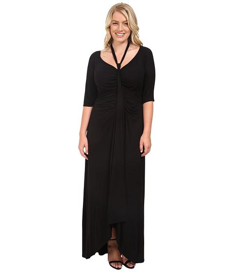 Kiyonna - Divine Draped Maxi Dress (Black Noir) Women's Dress