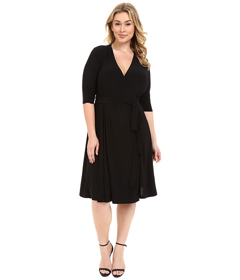 Kiyonna Essential Wrap Dress - Black Noir