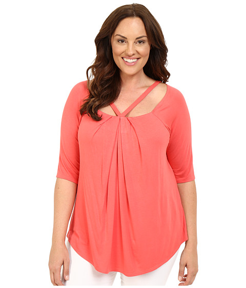 Kiyonna - Destination Daydream Top (Soft Coral) Women's Blouse