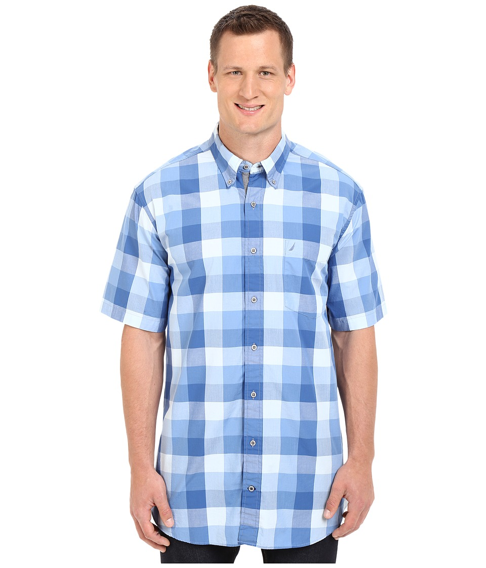 Nautica Big amp Tall Big Tall Short Sleeve Buffalo Plaid with Pocket Federal Blue Mens Short Sleeve Button Up