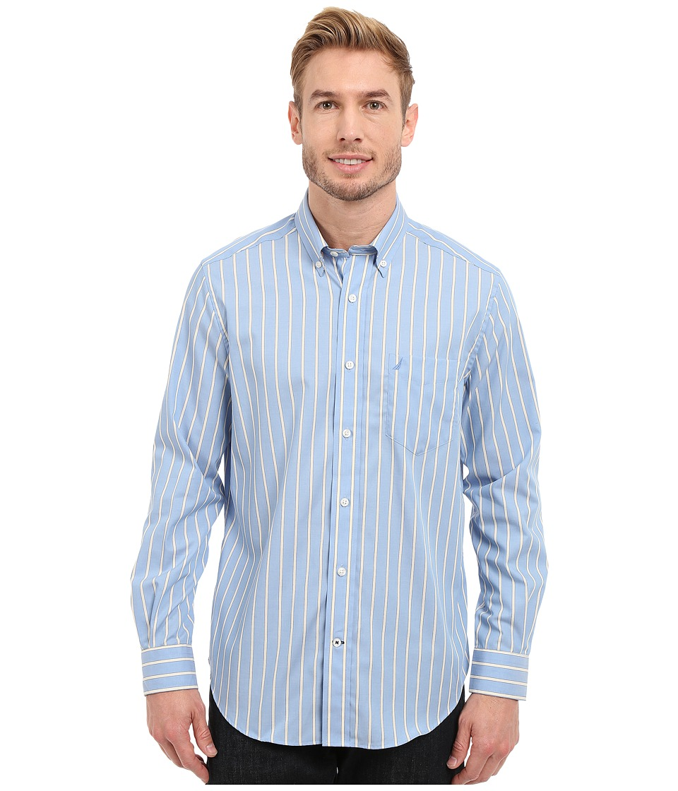 Nautica Long Sleeve Wrinkle Resistant Stripe with Pocket Blue Haze Mens Clothing