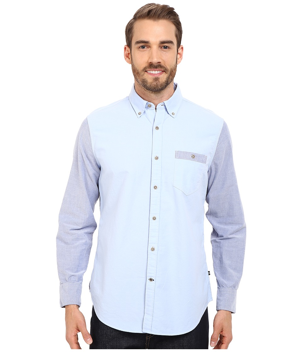 Nautica Slim Fit Color Blocked Oxford Shirt Thistle Mens Short Sleeve Button Up