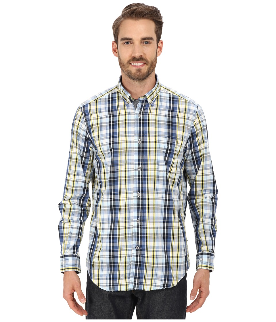 Nautica Long Sleeve Plaid with Pocket Navy Mens Long Sleeve Button Up