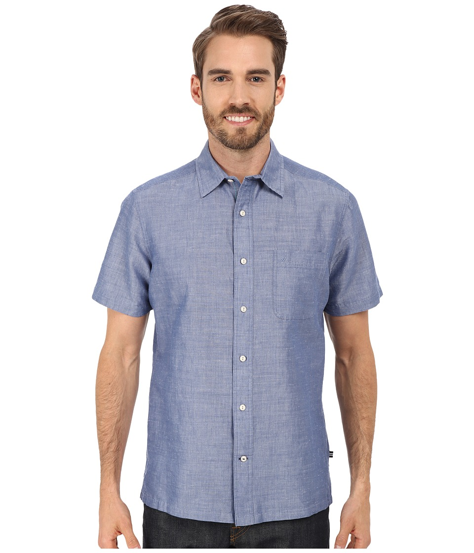 Nautica Slim Fit Ramie Short Sleeve Shirt Union Blue Mens Short Sleeve Button Up