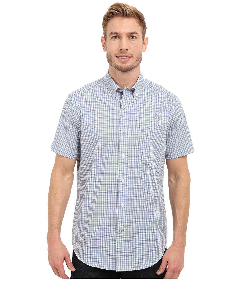 Nautica Short Sleeve Wrinkle Resistant with Pocket Small Plaid Blue Haze Mens Clothing