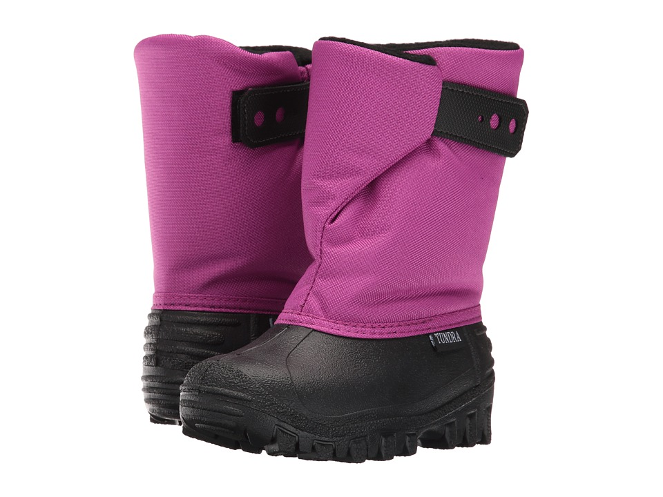 Tundra Boots Kids Teddy (Toddler/Little Kid) (Black/Magenta) Girls Shoes