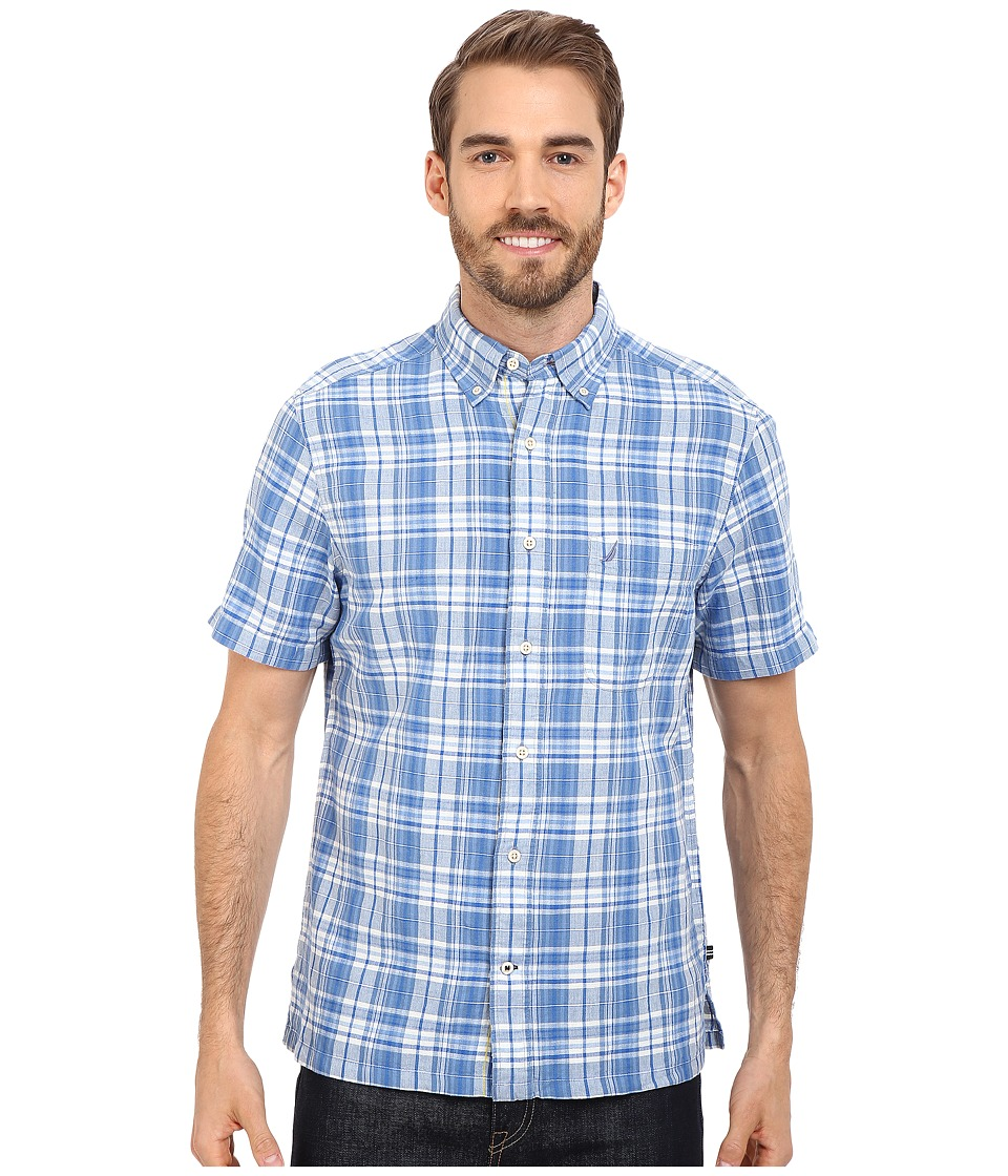 Nautica Short Sleeve Plaid with Pocket Federal Blue Mens Short Sleeve Button Up