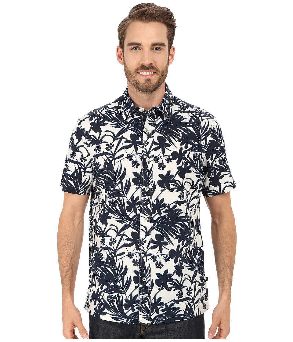 Nautica Short Sleeve Blue/White Floral Sail White Mens Short Sleeve Button Up