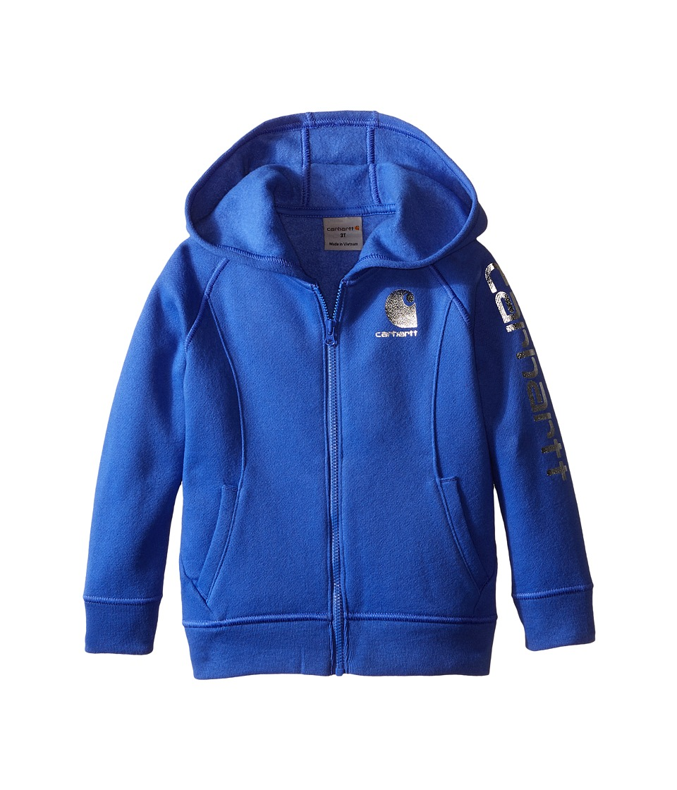 Carhartt Kids Carhartt Logo Zip Sweatshirt (Toddler) (Amparo Blue) Girl