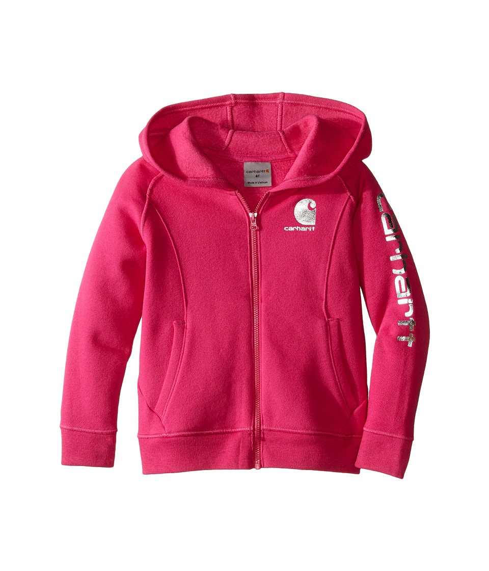 Carhartt Kids - Carhartt Logo Zip Sweatshirt (Toddler) (Raspberry Rose) Girl