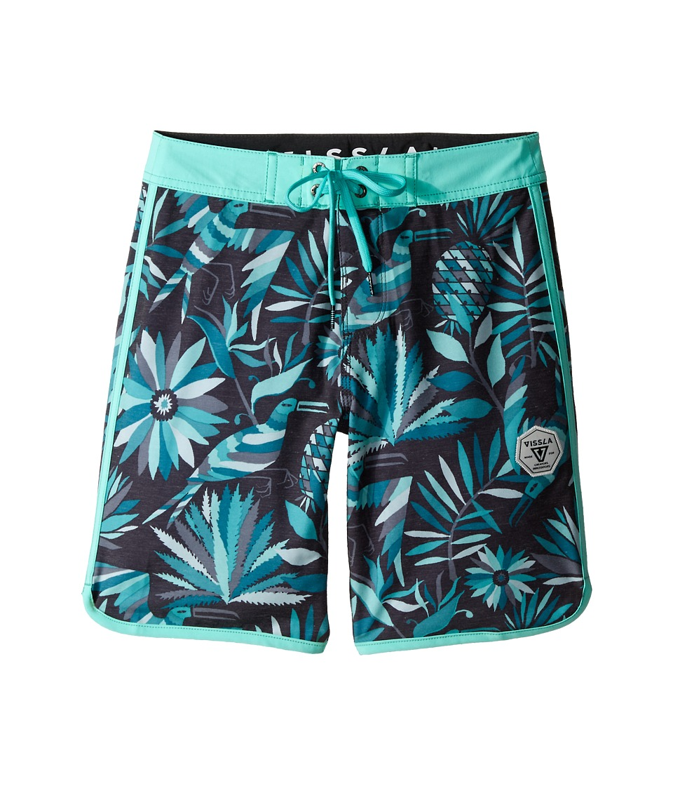 VISSLA Kids Aloha Amigo Washed 4 Way Stretch Boardshorts 17 Big Kids Phantom Boys Swimwear