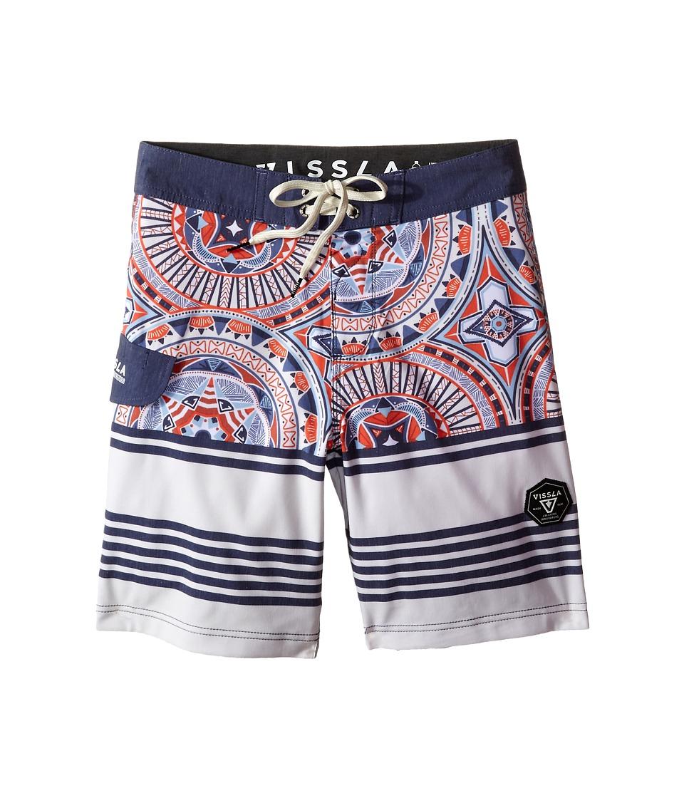 VISSLA Kids Suicides Washed 4 Way Stretch Boardshorts 17 Big Kids Dark Navy Boys Swimwear