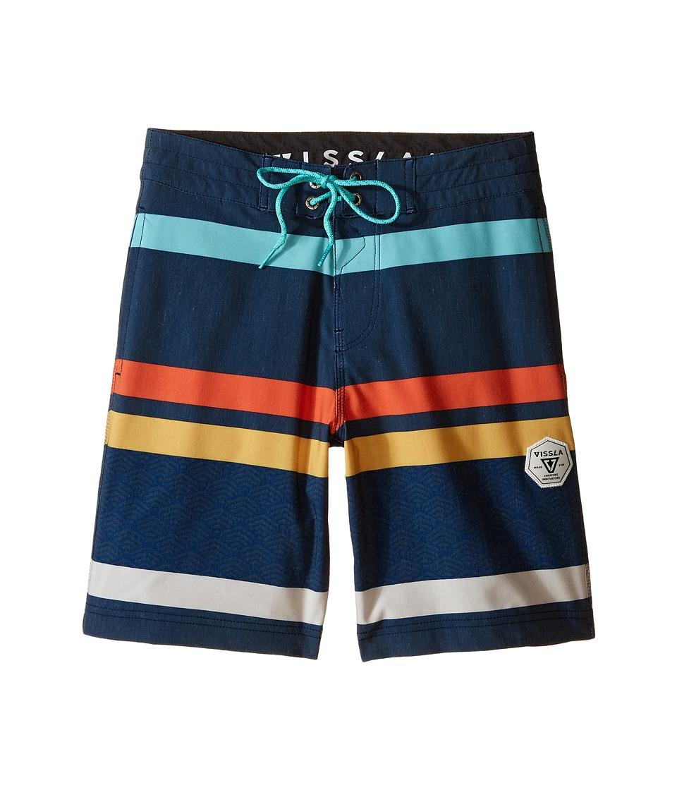 VISSLA Kids Mind Surf Washed 4 Way Stretch Boardshorts 17 Big Kids Dark Navy Boys Swimwear