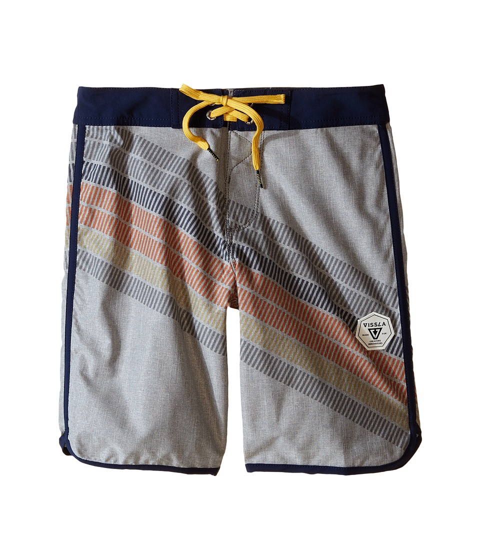 VISSLA Kids Drain Pipes 4 Way Stretch Boardshorts 17 Big Kids Gunmetal Boys Swimwear
