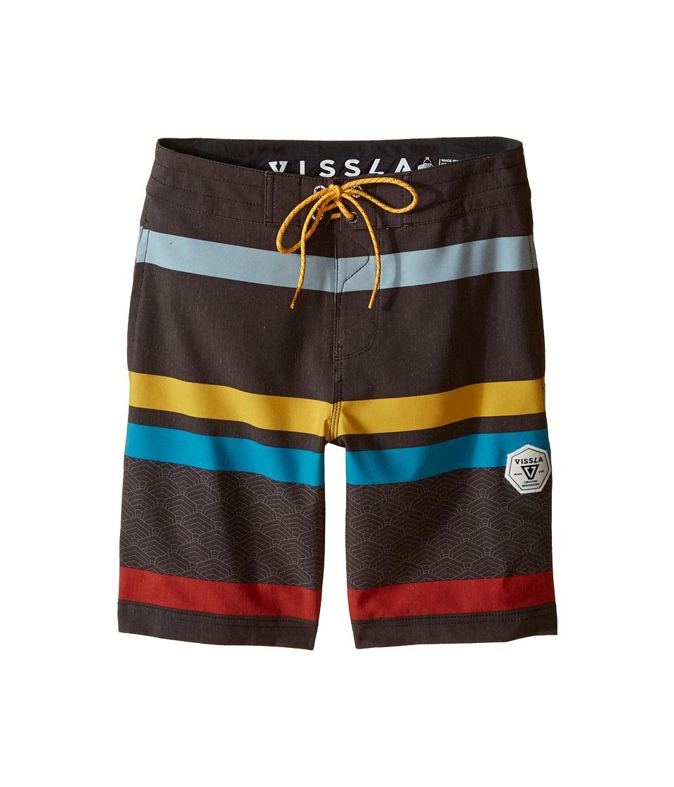 VISSLA Kids Mind Surf Washed 4 Way Stretch Boardshorts 17 Big Kids Dark Brown Boys Swimwear