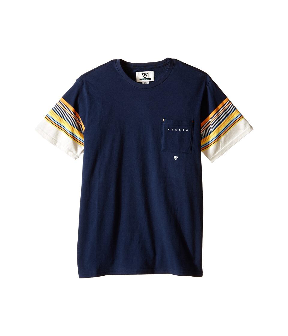 VISSLA Kids Gasher Striped Short Sleeve Yardye Stripe Crew Knit Big Kids Dark Navy Boys Short Sleeve Pullover