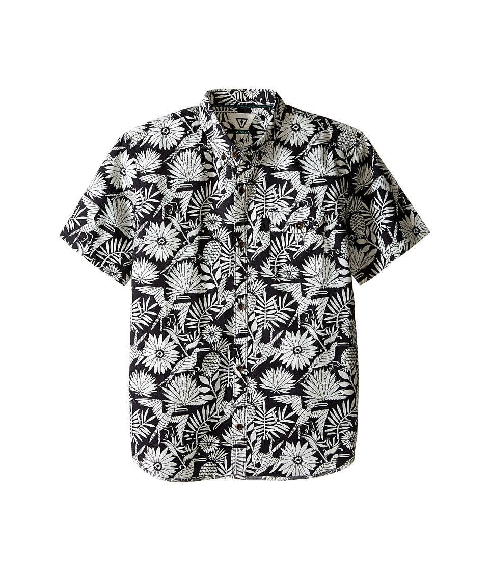 VISSLA Kids Aloha Amigo Reverse Printed Short Sleeve Slub Woven Big Kids Phantom Boys Clothing