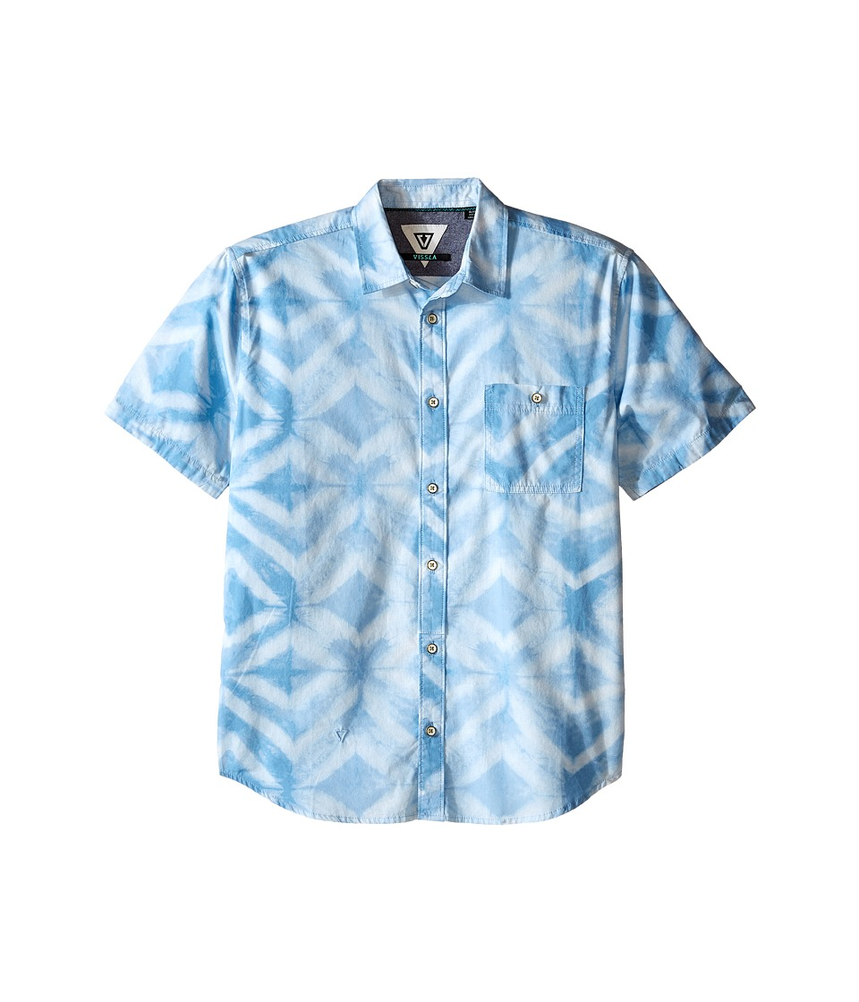 VISSLA Kids Dye Mond Lightweight Short Sleeve Printed Woven Big Kids Coastal Blue Boys Short Sleeve Button Up