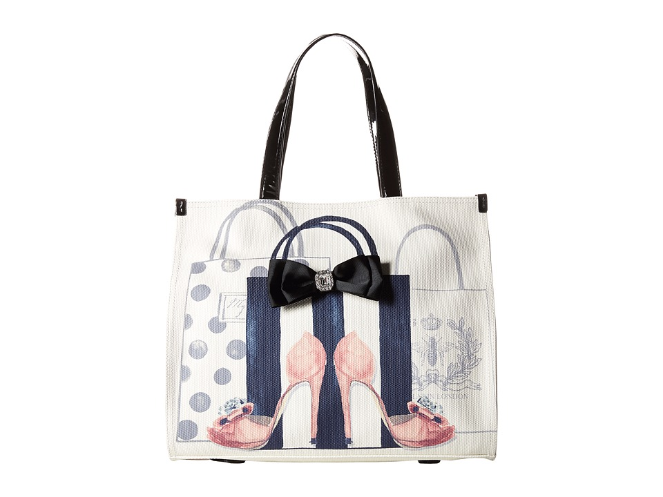 My Flat In London - Head Over Heels Square Tote (Natural/Black) Tote Handbags