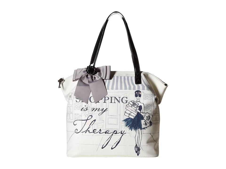 My Flat In London - Mayfair Zip Tote (Natural/Black) Tote Handbags