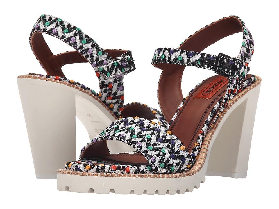 Missoni Raschel Heel Multi Sandal Black/White Womens Sandals