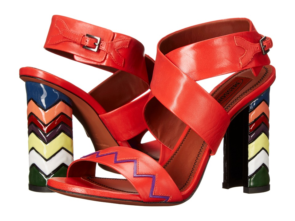 Missoni Ankle Strap Kid Sandal Red Womens Sandals