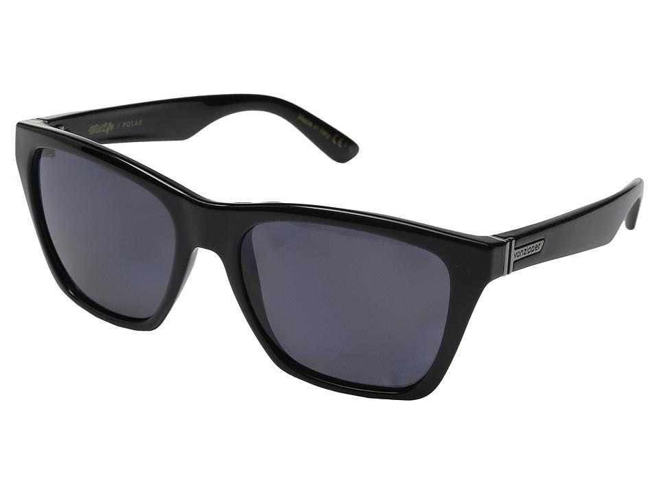 VonZipper Booker Polarized Black Gloss/Vintage Grey Wildlife Sport Sunglasses