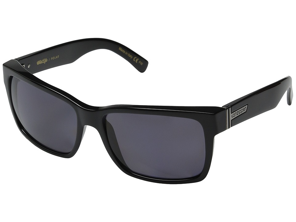 VonZipper - Elmore Polarized (Black Gloss/Vintage Grey Wildlife) Fashion Sunglasses