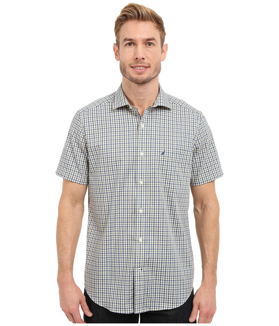 Nautica Short Sleeve Wrinkle Resistant with Pocket Small Plaid Union Blue Mens Clothing